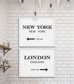 nice New York City Print London Art Industrial Wall Decor Gossip Girl Art Two Prints Cheap Art Gift for NYC Lover Modern Decor Subway Tile Ideas by www.best99homedec...