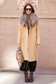 pleated skirt from H, B Store boots, vintage B. Altman cashmere sweater, faux fur vest from Apart, Alexander Wang coat.