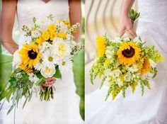 Whimsical Sunflower Wedding Bouquets  8 bouquets  Less flowers Bridesmaids  Less yellow garnish