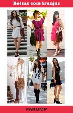 Qualquer look ganha mais charme se combinado com uma bolsa franjada. Elas podem ser de diversos estilos e vão muito bem com jeans! Inspire-se nos looks das fashionistas.