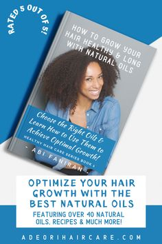 Learn how to optimize your hair growth and solve common hair issues with natural oils. Includes best natural oil recipes and features over 40 natural oils. #haircare #curlyhair #beauty #hair #hairstyle #hairstyles #haircare #curlyhair #beauty #hair #naturalhaircare #naturalhaircareinformation #naturalhaircarebooks #curlyhaircare #curlyhaircarereading #curlyhaircarebooks #hairgrowthinformation #curlyhairgrowth #blackhairgrowth Curly Hair Growth, Black Hair Growth, Curly Hair Care, Hair Growth Oil, Curly Hair Styles, Natural Hair Styles, Hair Issues, Natural Haircare, Natural Oils