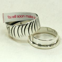 Stamped Sterling Secret Message Ring by mooredesign13 on Etsy....how cool!
