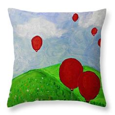 Red Balloons Throw Pillow  http://fineartamerica.com/products/red-balloons-sarah-loft-throw-pil..  #throwpillows #sarahloft #abstract #balloons #landscape #painting