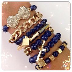bracelets - jewel - beu marine - or - chaines - croix - noeud