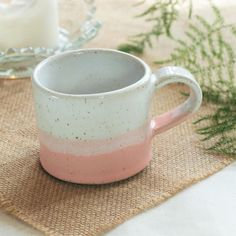 Handmade ceramic mug, pottery mug, two tone pink and white glaze, coffee or tea mug, handmade gift, housewarming gift, kitchen, dining from Megan Louise Ceramics