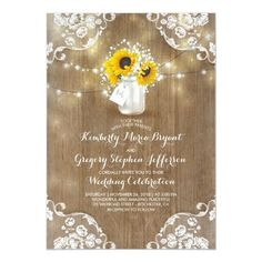 Shop Rustic Mason Jar Sunflower Bridal Shower Invitation created by jinaiji. Personalize it with photos & text or purchase as is! Rehearsal Dinner Invitations, Engagement Party Invitations, Rustic Invitations, Wedding Invitation Cards, Bridal Shower Invitations, Birthday Party Invitations, Photo Invitations, Invites, Wedding Cards