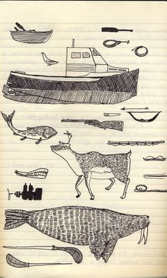 Travel sketchbook by wolfeyebrows. inuit drawing 1