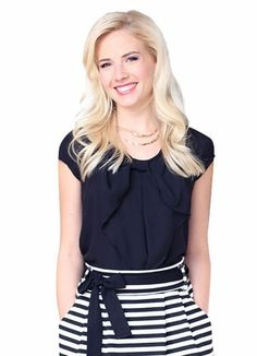 "Can a girl have too many bows?? We don't think so! (also available in white!)  ""Chiffon Bow"" Top in Black"