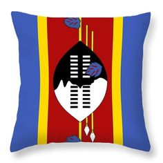 Southern Africa Throw Pillow featuring the mixed media Swaziland Flag by Otis Porritt