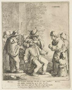 Jan Both   Gevoel, Jan Both, 1620 - 1638   Het zintuig Gevoel uitgebeeld met een man die een pijnlijke behandeling ondergaat van een tandarts of kiezentrekker. Een pelgrim en andere toeschouwers kijken met afschuw toe. De tekst van vier regels onder de afbeelding drijft de spot met het zintuig.