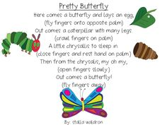 Pretty Butterfly Poem and Props Freebie The Very Hungry Caterpillar Activities, Preschool Music, Preschool Science, April Preschool, Science Inquiry, Preschool Curriculum, Life Science, Classroom Activities, School