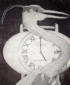 Great Blue Heron, Watch, Clock, Pen, Art, Drawing.  Available at IncrediblePhotoArt.com