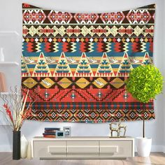 Abstract Geometric Pattern Vintage Inspired Retro Colors Old Style Graphic Art Print Colorful Tapestry, Bohemian Tapestry, Mandala Tapestry, Dorm Tapestry, Tapestry Bedroom, Tapestry Wall Hanging, Tapestries, Ethnic Decor, Bohemian Decor