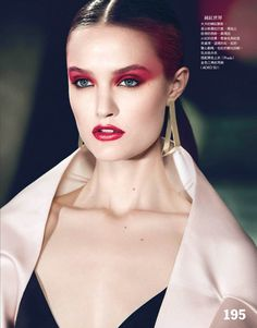 Katie Fogarty is A Rebel in Red for Vogue Taiwan May 2013 by Yossi Michaeli - great make-up, love it!