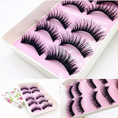 WILLTOO 5 Pairs Fashion Natural Handmade Long False Black Eyelashes Makeup ** Learn more by visiting the image link.