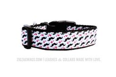 The Mr. Moustache collar is always a favorite. This 1″ inch wide dog collar features a heart and moustache pattern that fashionable pups love to wear!