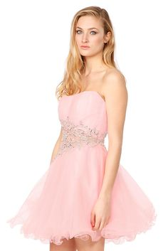 This girly candyfloss-pink prom dress by Jovani features crystal embellishments. Hire from Wish Want Wear for £65