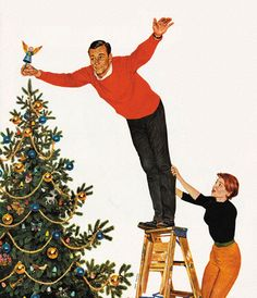 Topping the Tree, art by John Falter.  Detail from Saturday Evening Post cover December 28, 1957.