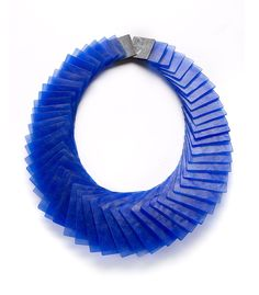Yoko Shimizy Necklace: Blue Thin Squares, 2014 Resin, pigment, silver, polyester