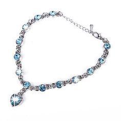 silver plated GF Ace Swarovski Crystal Heart Pendants Charms Bracelet - http://elegant.designerjewelrygalleria.com/swarovski/silver-plated-gf-ace-swarovski-crystal-heart-pendants-charms-bracelet/