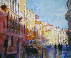 Geoffrey Wynne Acuarelas - Watercolours: CANAL DE VENECIA - CANAL OF VENICE