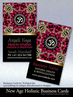 Anjali Yoga Gold Om New Age Business Cards #template #spirituality