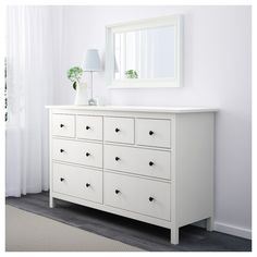 IKEA - HEMNES, Chest of 8 drawers, white, Of course your home should be a safe place for the entire family. That's why a safety fitting is included so that you can attach the chest of drawers to the wall. Smooth running drawers with pull-out stop. Wide Chest Of Drawers, Dresser Drawers, Ikea White Dresser, Ikea Dresser Hemnes, White Dressers, Ikea White Drawers, White Bedroom Dresser, Hemnes Ikea Bedroom, Hemnes Bookcase