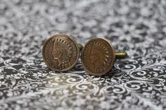 Vintage Indian Head Cent / Penny Cufflinks ,   Handmade pair on bronze studs 1902 and 1906