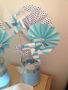 diy centrotavola battesimo girandole barattoli Fiesta Baby Shower, Baby Shower Parties, Baby Boy Shower, Baby Im Mutterleib, Fun Crafts, Diy And Crafts, Show Da Luna, Baptism Party, Bebe