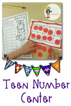 Everything you need for back to school in kindergarten! This number sense math center teaches teen number as 10 and then some. Includes 6 different colored tens frames with crayons! Perfect back to school math center!