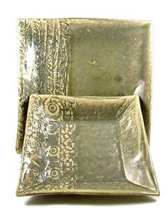 Ceramic Dinner Plate Set / Handmade Stoneware by PatsPottery,