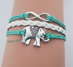 Silver elephant bracelet Infinity bracelet white leather mint rope Antique Silver elephant Jewelry infinity charm wholesale lovely Gift idea by LovelyGiftidea, $3.99