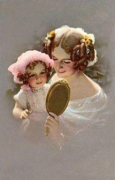Mother and Child Vintage Artwork, Vintage Images, Vintage Prints, Nostalgic Images, Family Illustration, Fine Art Prints, Canvas Prints, Realistic Drawings, Illustrations