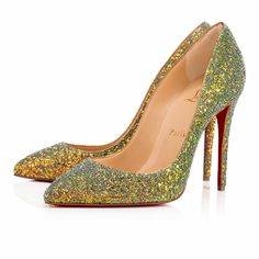 """A variation on a beloved theme, """"Pigalle Follies"""" is our number-one icon, """"Pigalle,"""" refitted with a slightly shorter toe box and a superfine stiletto heel. The effect is an elegant silhouette with a feminine 100mm pitch. In pollen dragonfly glitter, this pair brings a sensational touch to your look."""