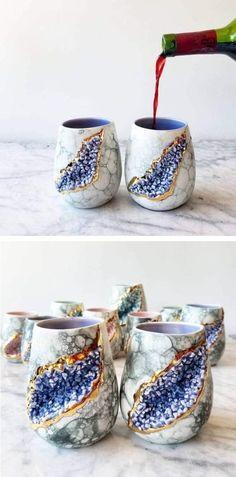 Self-taught ceramicist Katie Marks of Silver Lining Ceramics crafts glistening geode mugs.