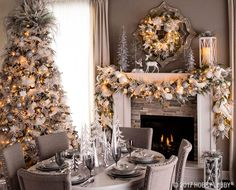 This Christmas, add an elegant yet simple feel to your deco Christmas Fireplace, Christmas Mantels, Christmas Home, Christmas Holidays, Christmas Villages, Christmas Trees, Christmas Ornaments, Silver Christmas, Elegant Christmas