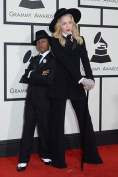 Madonna and son David Banda Mwale Ciccone Ritchie in Ralph Lauren at the Grammys 2014