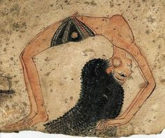 Ancient Egyptian dancer performing a gymnastic backbend, painted in 13th century BC on Ostracon found in Thebes, 10.5 cm x16.8 cm, now in the Turin Museum Egizio, Italy
