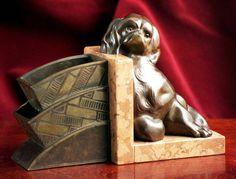 Art Deco Bronze King Charles Spaniel , 1920's.