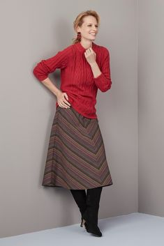A striking knit in a perfect shade of paprika for winter warmth. · Long sleeves · All over cable · Tubular round neck · Tubular rib hem & cuff · cotton &mi Midi Skirts, Knitting, Winter, Long Sleeve, Sleeves, Red, Sweaters, Cotton, Vintage