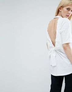 ASOS WHITE T-Shirt With Bow Back