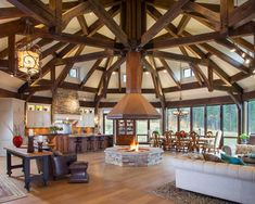 Cool Octagonal Living Room / Kitchen / Dining - Home Design and Decoration Timber Frame Homes, Timber House, Timber Frames, Yurt Living, Home And Living, Home Fireplace, Fireplace Design, Casa Octagonal, Yurt Home