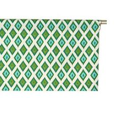 """Cotton valance with diamond ikat motif. Made in the USA.  Product: ValanceConstruction Material: CottonColor: Grasshopper and naturalFeatures:  2"""" Rod pocket3"""" HemMade in the USA Dimensions: 16"""" H x 50"""" WCleaning and Care: Spot clean"""