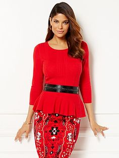 Eva Mendes Collection - Giselle Peplum Sweater - New York & Company Eva Mendes Collection, Hourglass Body Shape, Flattering Outfits, Peplum Sweater, New York And Company, Looks Great, What To Wear, Dresses For Work, Clothes For Women