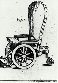 A wheelchair designed in the 1760s by I. Lindemain. It doesn't look very easy to push around! If you are interested, look into how penicillin, wheelchair redesign, and self-advocacy contributed to societal level changes for individuals with disabilities.