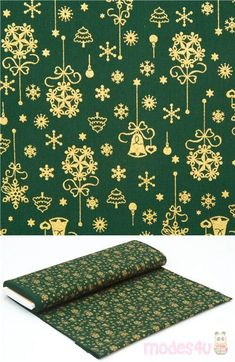 green cotton fabric with metallic gold embellishment, with Christmas decorations, snowflakes, stars, Xmas trees, bells etc., 100% cotton, high quality fabric from Japan #Cotton #Items #Glitter #JapaneseFabrics