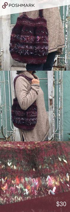 Handmade wool woven purse / bag Boho soft & fuzzy EUC. Handwoven (handmade) artisan purse with two inside pockets.Colorful wool yarns were used to create this Purple tones boho bag. It's super cute! It's clean. Thanks for looking:) Please make an offer. Artistisan Made Bags Shoulder Bags