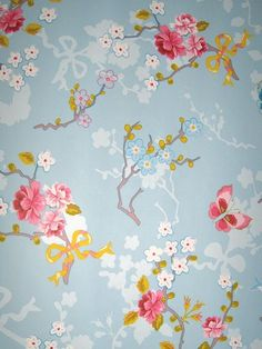 Blossom, butterfly bleu, pink wallpaper