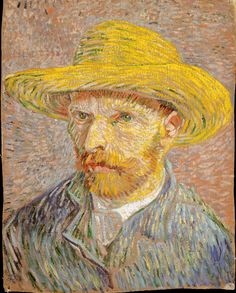 Celebrate with this Van Gogh self-portrait of the artist in a straw hat. Van Gogh produced more than twenty self-portraits during his Parisian sojourn including this work. Vincent van Gogh Self-Portrait with a Straw Hat (obverse: The Potato Peeler), Claude Monet, Vincent Van Gogh, Van Gogh Art, Art Van, Rembrandt, Henri De Toulouse-lautrec, Van Gogh Pinturas, Van Gogh Self Portrait, Sculpture Textile