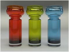 Glass vases designed by Tamara Aladin for Riihimaki #glass #midcentruy #modern via http://www.davidhier.co.uk